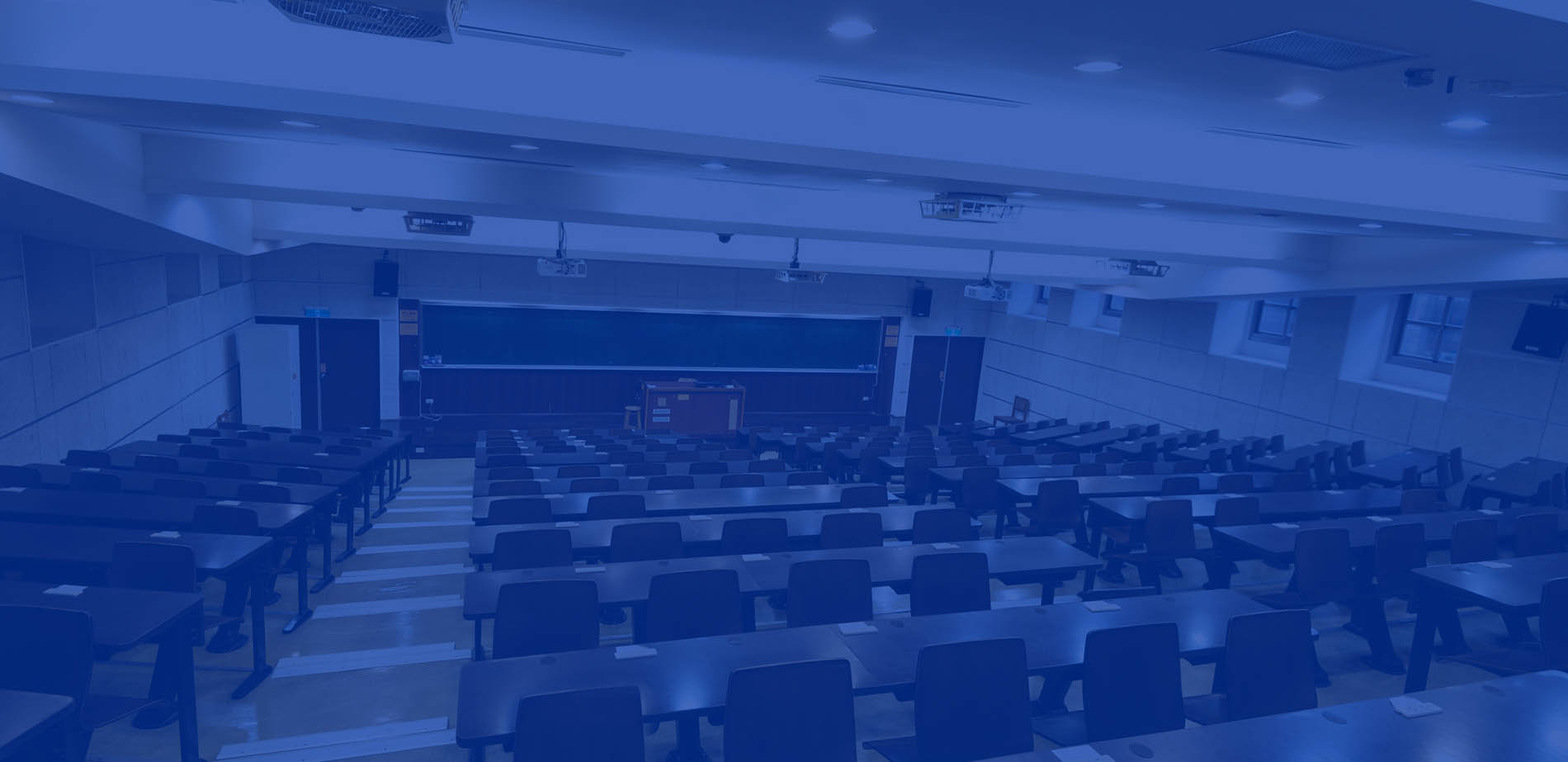 An empty large college classroom
