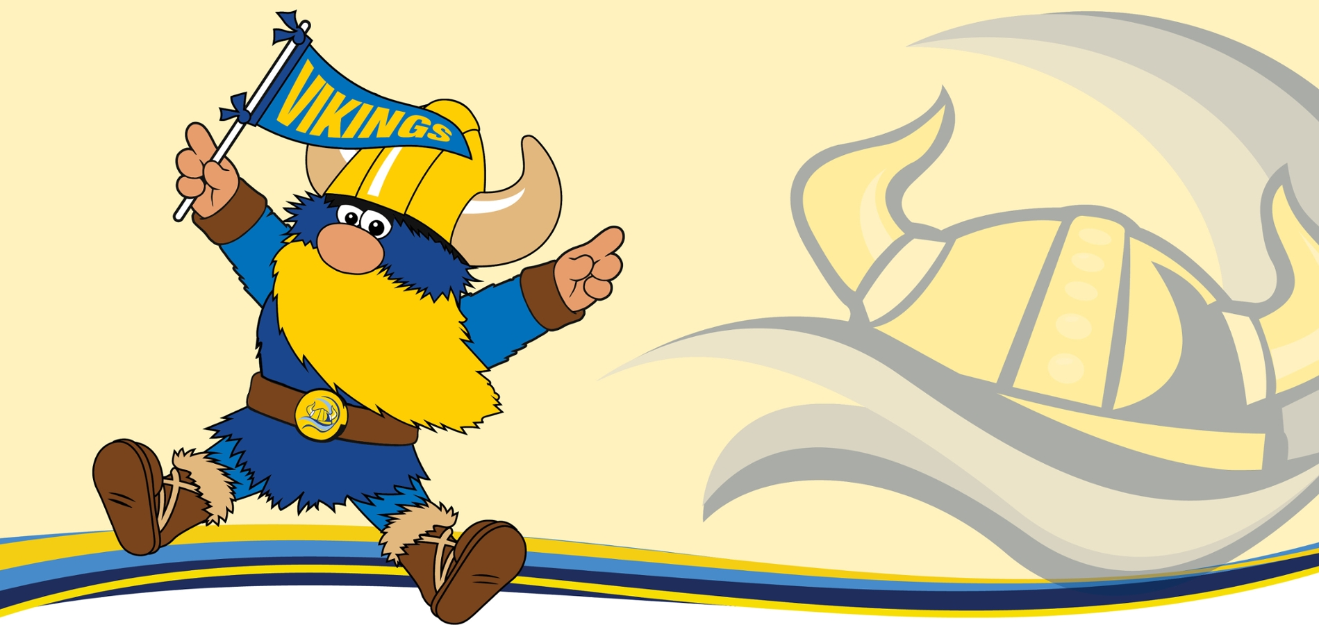 Valdar the Viking mascot holding pennant
